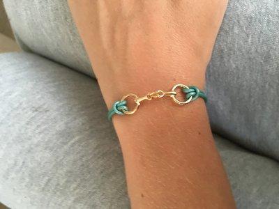 Armband bit leer metalic turquoise
